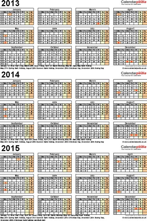 3 year planner template three year calendars for 2013 2014 2015 uk for word