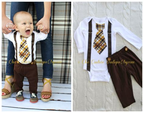 Set Suspender Brown Pant 1 baby boy tie and suspenders bodysuit w by chiccoutureboutique