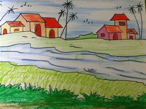 beautiful landscape drawing  kids  simple steps youtube