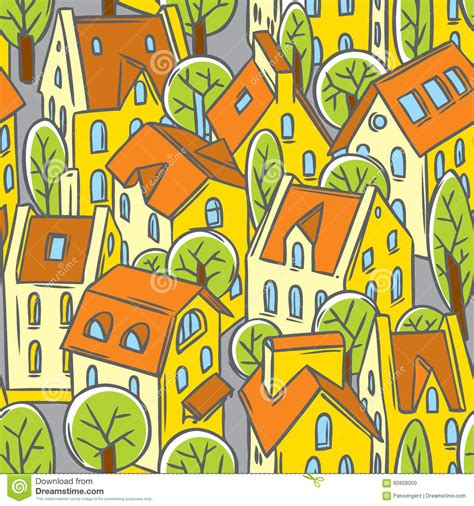 seamless pattern houses city seamless pattern with roofs royalty free stock photo