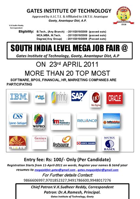 Hdfc Bank For Mba Freshers by Gates Institute Of Technology Mega Fair April 23rd