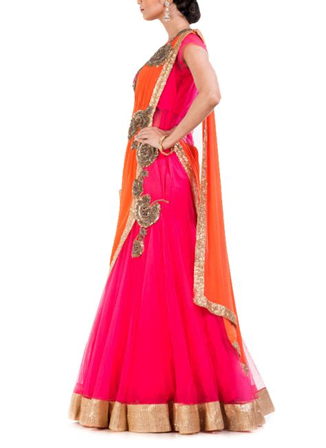 fish style saree draping anju agarwal watermelon pink fish cut saree gown shop