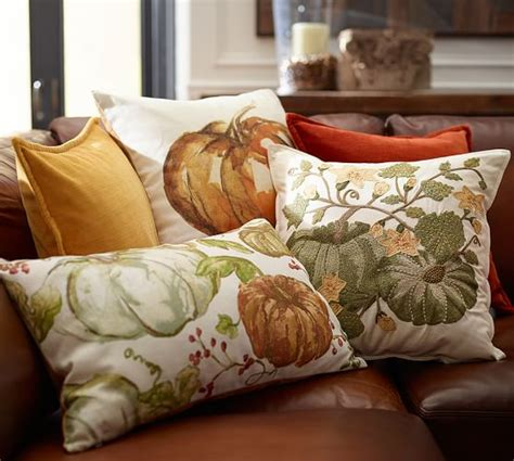 Pottery Barn Pumpkin Pillow by Pumpkin Patch Crewel Embroidered Pillow Cover Pottery Barn