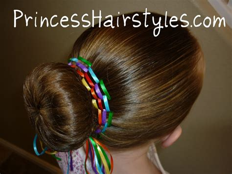 cute hairstyles for a dance hairstyles for girls rainbow bun dance bun with ribbon