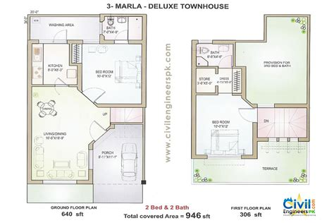 houses with floor plans 3 marla house plans civil engineers pk