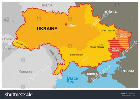 map ukraine conflict divided ukraine map conflict region ethnic stock vector