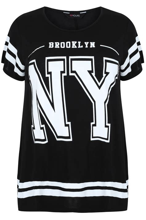 New York 36 Big Size Tshirt black and white new york print sleeve t shirt plus size 16 to 36