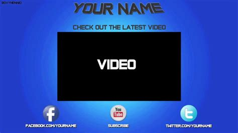 socialoutro free outro templates pack psd files youtube