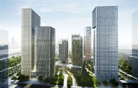 gmp architekten tower block complex  ten buildings  nanjing china