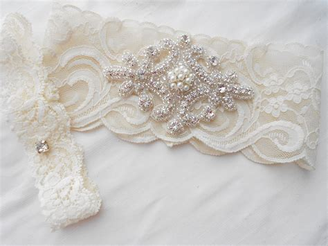 Wedding Garter Sets wedding garter set ivory or lite ivory stretch lace bridal