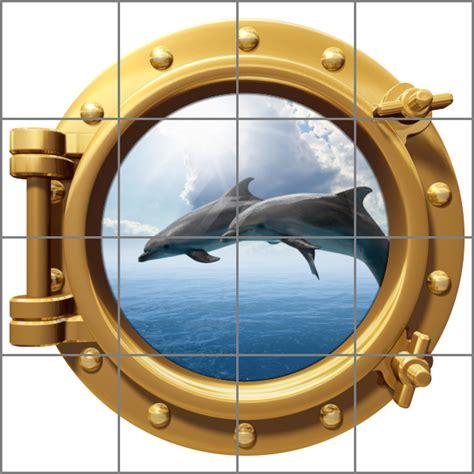 Folienaufkleber Bullauge by Bullauge Meer Wasser Delfine Medianlux Shop