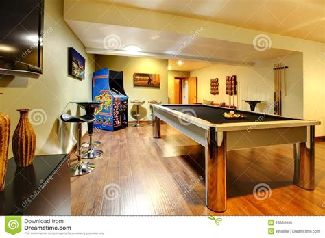 home interiors party play party room home interior with pool table stock photo