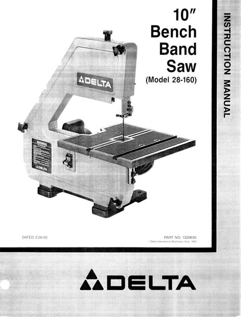delta bench band saw delta 28 160 10 quot bench band saw instruction manual ebay
