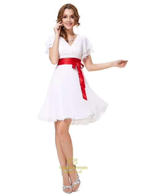 L 815 White Dress white v neck chiffon flutter sleeves bridesmaid dresses with sash val dresses