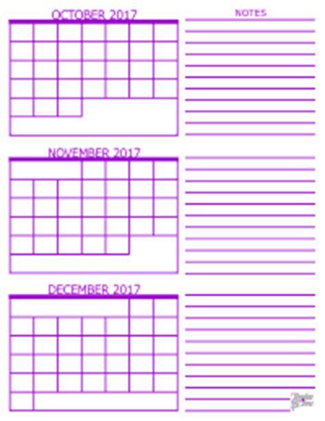 Calendar 2017 October Thru December 3 Month Calendar 2017