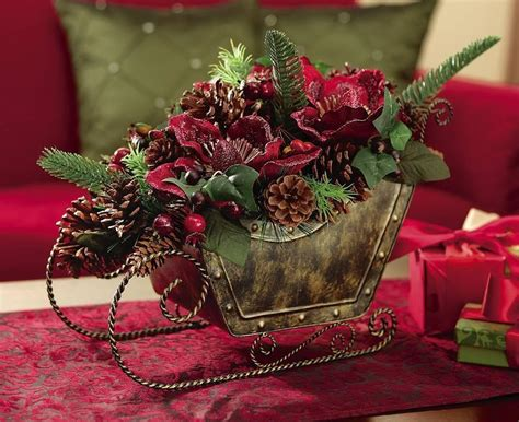 rustic christmas floral sleigh centerpiece decoration ebay