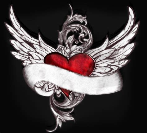 heart wings tattoo winged by swiftlakerreborn on deviantart