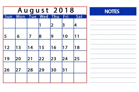 August 2018 Calendar August 2018 Free Monthly Calendar Templates Tools