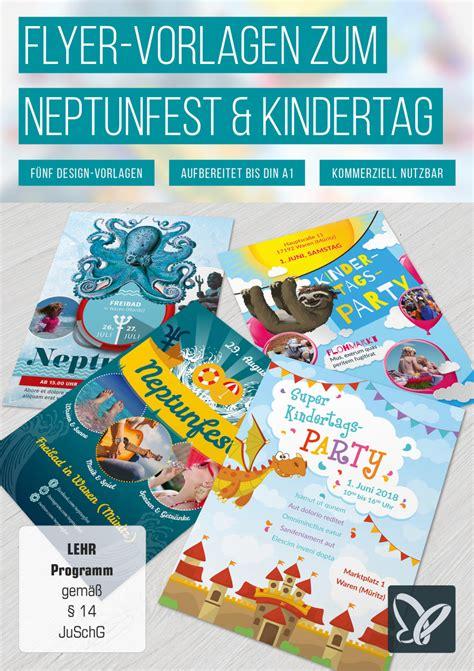 Flyer Design Vorlagen Psd Flyer Vorlagen Zum Neptunfest Und Kindertag Tutkit