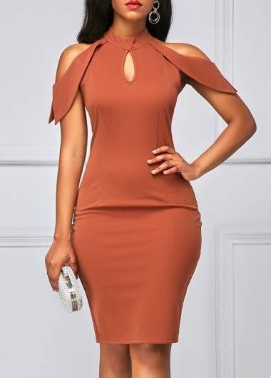 Shoulder Cut Out Dress cutout mock neck cold shoulder sheath dress rosewe