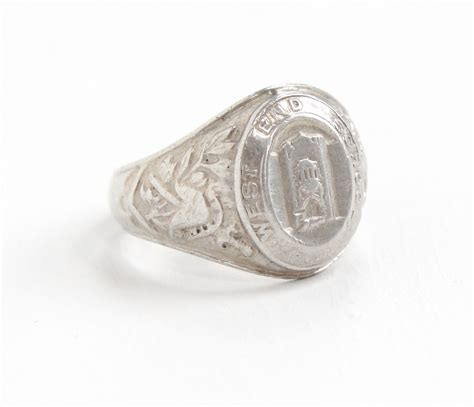 sale vintage sterling silver class ring by maejeanvintage