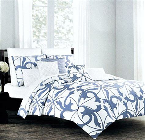 tahari home 3pc luxury cotton duvet cover set royal blue