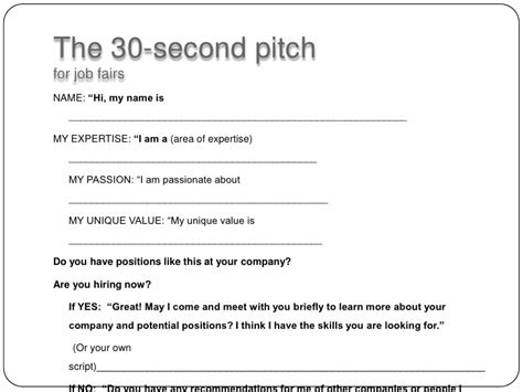 30 second pitch template 30 second pitch for fairs