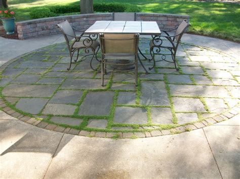 Patio Pavers With Moss In Between Our Beautiful Patio Cement Brick And Moss Growing