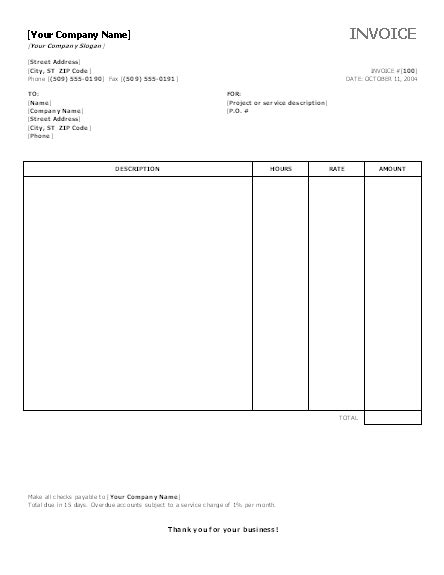 hourly service invoice template auto parts invoice template studio design gallery