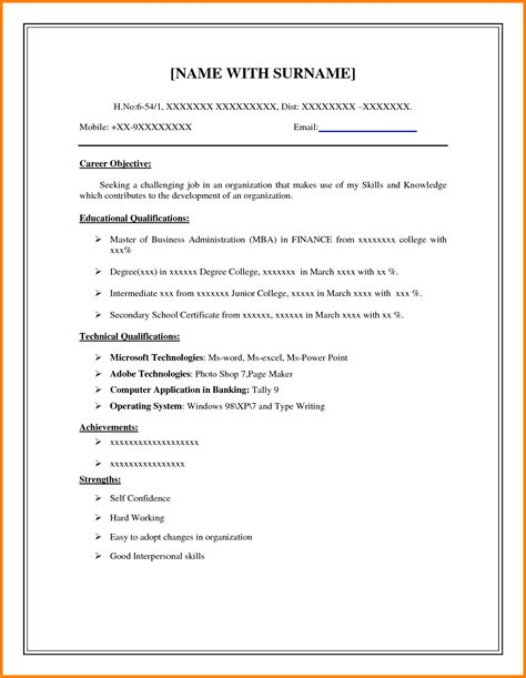 Easy Resume Format by 8 Easy Resume Format Sle Defense