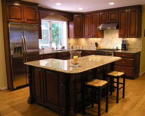 L Shaped Kitchen With Island Layout Traditional L Shaped Island Kitchen Design Ideas Remodels Photos