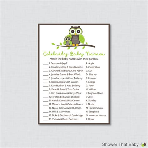 printable owl games celebrity baby shower game printable owl themed celebrity