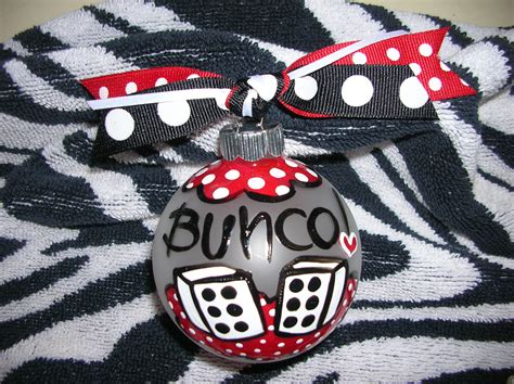 hand painted bunco bunko christmas ornament one ornament