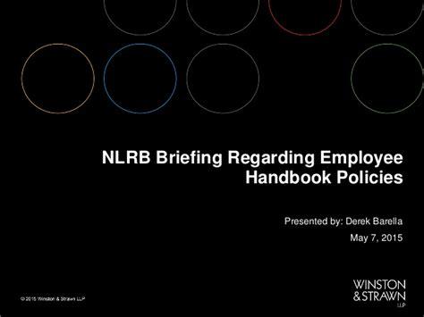 Nlrb Search Nlrb Briefing Regarding Employee Handbook Policies