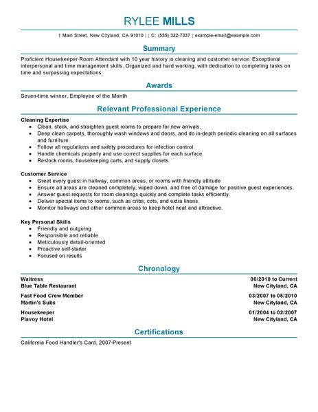 best housekeeper room attendant resume exle livecareer
