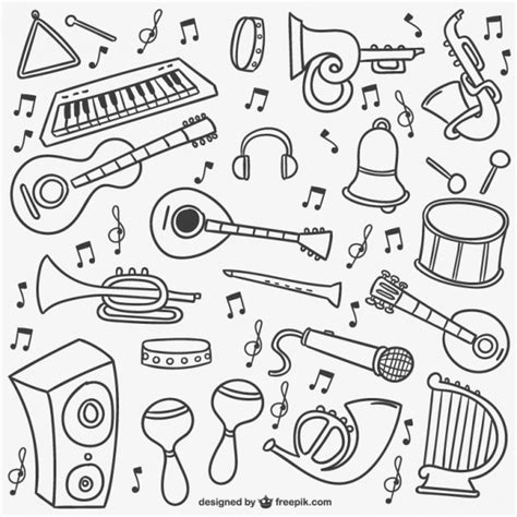 musical doodle free vector doodles pack vector free