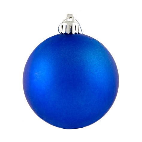 80mm round smooth metallic ball ornament matte royal blue
