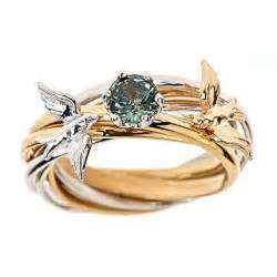 bird wedding ring custom 7 band engagement nest ring solid 14k yellow