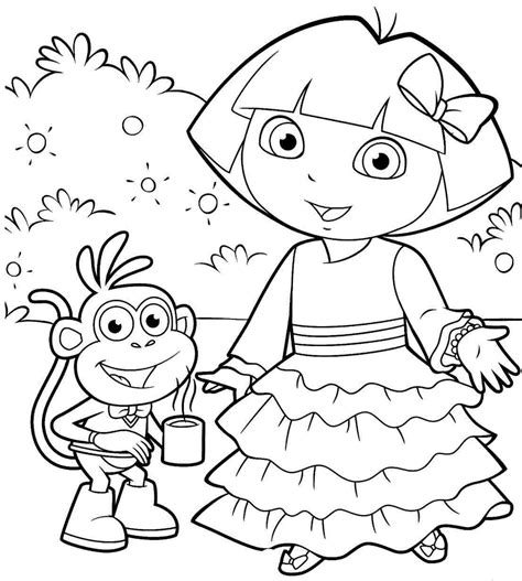 dora spanish coloring pages excellent efebffecbbdbca at dora the explorer coloring