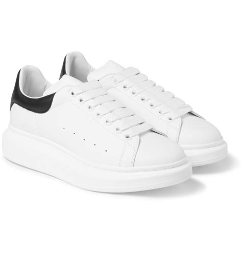 mens white leather sneakers lyst mcqueen leather sneakers in white for