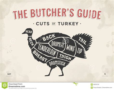 The Price Of Butcher S cut of set poster butcher diagram scheme turkey stock vector image 90876700