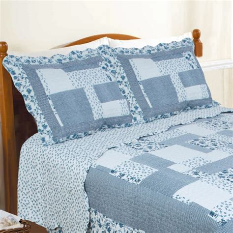 Blue Quilted Pillow Shams by Restmor Natalie Scalloped Floral Patchwork Quilted Pillow