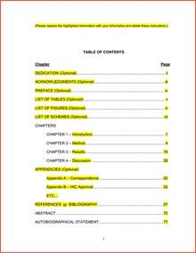 mla table of contents proposalsheet