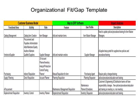 Software Gap Analysis Template Erp Project 101 Organizational Fit Gap Erp The Right Way