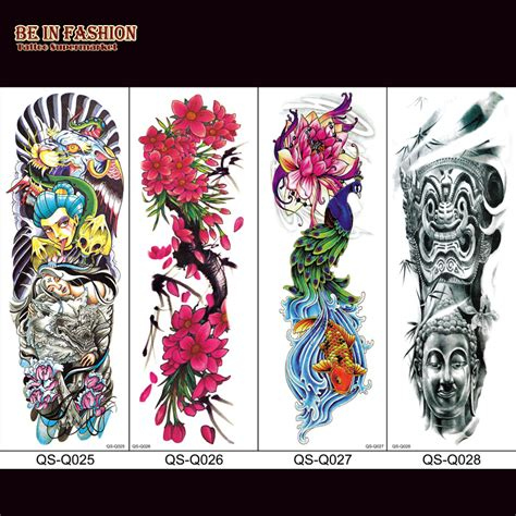 temporary quarter sleeve tattoo 1pc fake tattoo sleeves for men colok rose death skull