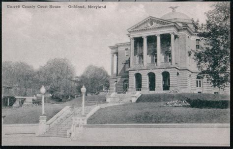Garrett County Judiciary Search Oakland Md Garrett County Court House Vtg B W Albertype Postcard Maryland Pc Ebay