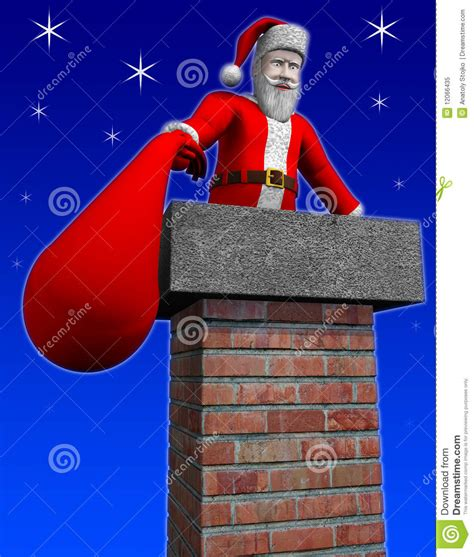 santa going down chimney stock illustration image of