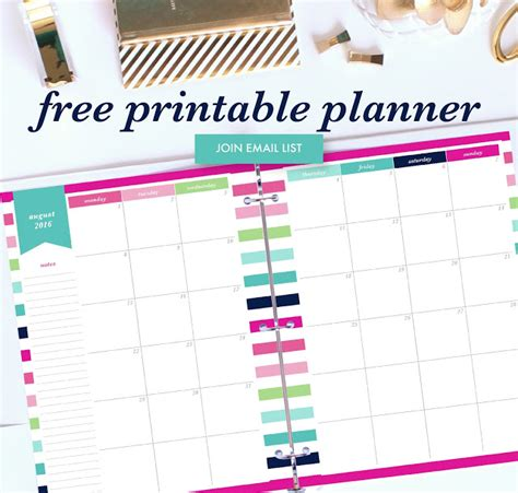 printable monthly planner free download free planner printables 2017
