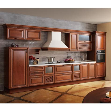 China High End Alder Solid Wood Kitchen Cabinet Furniture Solid Wood Kitchen Furniture