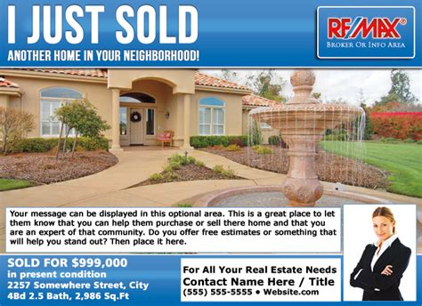 Remax Eddm Just Sold Postcards Real Estate Just Sold Flyer Templates
